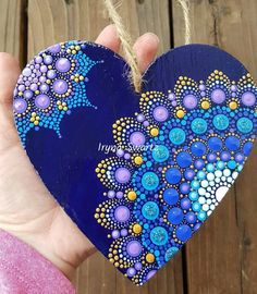 "27 Likes, 5 Comments - Art On The Rocks (@art_on_the_rocks) on Instagram: ""Big heart wall decor #art_on_the_rocks #art #paintedheart #ilovesharingmandala #mandala…"""