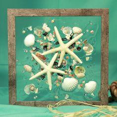Starfish Beach Glass Art for Coastal Decor, Seashell Art with Starfish for Beach House, Beach Art on Glass, Beach Wedding Gift by SeaSideCreations1 on Etsy