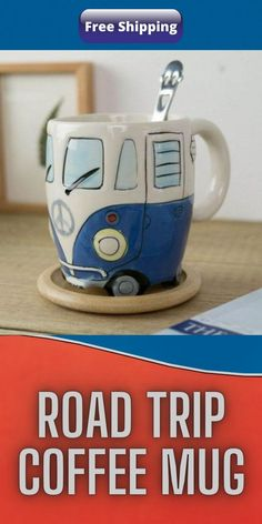 Wake up your inner wanderlust with a cup full of cuteness! This Road Trip Coffee Mug features a ceramic cup, a sturdy handle, and a super cute, hippie inspired, camper/van design, with fine detailing from the windshield wipers and peace symbol hood design, right down to the license plate inscribed with the word PEACE. #RoadTrip #Coffee #Mug Oscar Fish, Blue Jeep, Van Design, Bridal Heels, Perfume, Helium Balloons, Crocodiles, Diy Carpet, Smileys