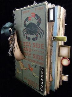 """sea side and way side"""" cover    with a little trinket cluster attached to the o-wire binding with vintage seam binding ribbon."""