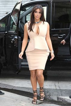 Kim Kardashian in Tom Ford Spring 2012 sandals & a Celine ID choker necklace.