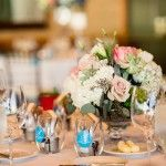 Blue and pink wedding flowers | ARIA Style | Edgewater Hotel Seattle Wedding | Seattle Wedding Planner | Alante Photography