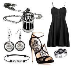 """Black Out"" by makaypay on Polyvore featuring Boohoo, Jimmy Choo and Footnotes Too"