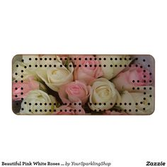 Beautiful Pink White Roses Cribbage Board Walnut Cribbage Board