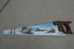 Hand painted saw winter scene with deer, barn, log cabin painting Disston U.S.A. handsaw by sherrylpaintz