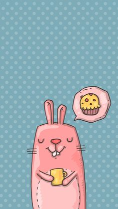 TAP AND GET FREE APP ⬆️  Cute pink cartoon bunny, dreaming about cupcake on the polka dot background wallpaper for iPhone 6 from Everpix app! Follow us and get Everpix free on the App Store!