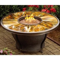 Premium Sunlight Fiberglass Round Gas Fire Pit Table with Cover - Free Shipping Today - Overstock.com - 18036460 - Mobile