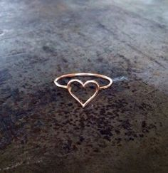 """Heart ring, 14k gold filled, hammered stack ring: This beautiful and simple ring is perfect for wearing solo, with other stacking rings, or as knuckle ring. It is made of 20 gauge 14k gold filled wire, forged, soldered and hammered to a shiny finish.  So sweet!!  I can make this in 14k rose gold fill and sterling silver as well as 14k gold fill pictured above!   Please be sure to include your size in the """"message seller"""" upon checking out.  Please convo me if you have any questions:)"""