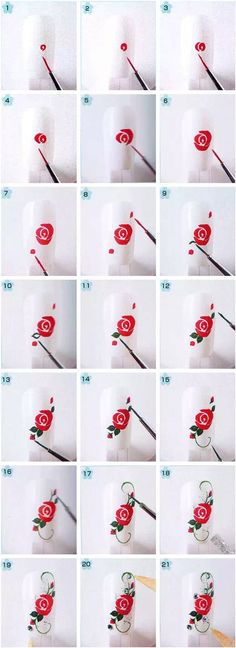 Rose art nail design step by step