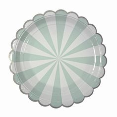 Stevige Papieren ronde bordjes - streep muntgroen MeriMeri
