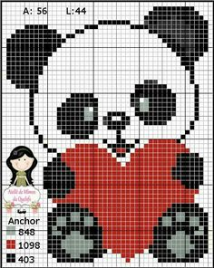 Panda with heart graph pattern