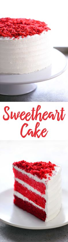 This Sweetheart Cake has three layers of moist red cake with a light, fluffy whipped frosting and adorable cake crumbles on top. You can whip it up without too much effort and everyone will be impressed. It's perfect for holidays and celebrations!