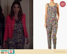 Hanna's multi-colored jumpsuit on Pretty Little Liars. Outfit Details: http://wornontv.net/27589 #PLL #fashion