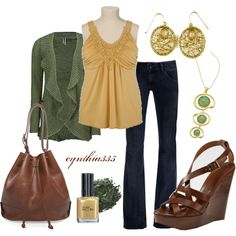 """Olive and Gold"" by cynthia335 on Polyvore"