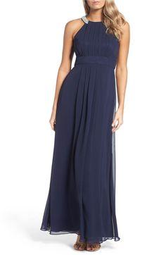 Main Image - Eliza J Embellished Chiffon Gown (Regular & Petite)