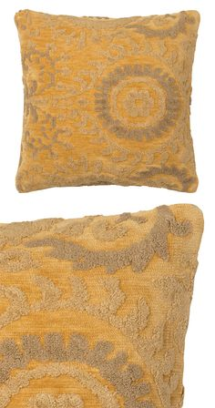 Like vines inching toward the sun, a soft flocked pattern unfurls across an amber background in our Bhopal Throw Pillow. This globally inspired ray of light is sure to be the brightest spot on your sof...  Find the Bhopal Throw Pillow, as seen in the Vivid Vintage at the Graduate, Athens Collection at http://dotandbo.com/collections/vivid-vintage-at-the-graduate-athens?utm_source=pinterest&utm_medium=organic&db_sku=120396