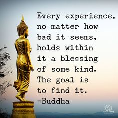 Every experience no matter how bad it seems, holds within it a blessing of some kind. The goal is to find it. Buddha.