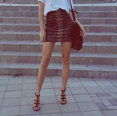 Beautiful blogger Alina Ceusan wearing Manokhi black croc leather skirt available now on www.manokhi.com