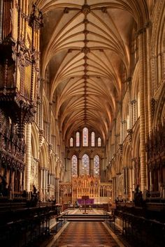 Ely Cathedral interior - older parts including tower are Romanesque