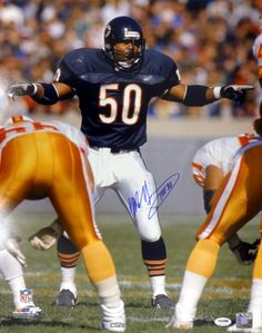 """Mike Singletary Autographed 16x20 Photo Chicago Bears """"""""HOF 98"""""""" PSA/DNA Stock"""