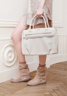 TWIN-SET Simona Barbieri: bauletto bag with front pocket and split leather boots with double side strap and double customised buckle