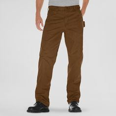 Dickies Men's Big & Tall Relaxed Straight Fit Sanded Duck Canvas Carpenter Jean- Timber 48x32