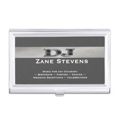 Dj karaoke business card holder personalized dj karaoke business dj gray stripe silver business card holder personalized dj gray stripe silver business card case features colourmoves