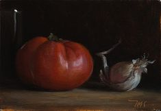 Still life with tomato, garlic and bottle