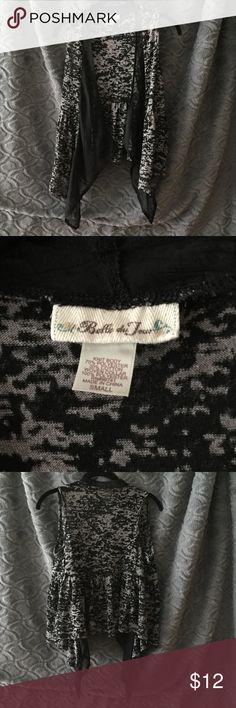 Belle du Jour Size S Black and Gray Vest Belle du Jour Size Juniors S Black and Gray print with black sheer neck and front. Vest Belle Du Jour Tops Blouses