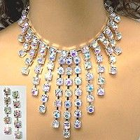 Glamorous iridescent rhinestone necklace sets make a dramatic statement for special occasions.  The rhinestone necklace sets use large stone size in cascading rows that sparkle as they radiate color from the iridescent rhinestones.  See a wide selection or rhinestone jewelry from under stated to dramatic by clicking on the link.  http://www.awnol.com/store/Rhinestone-Jewelry