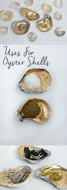 Oyster shells are a perfectly stylish way to hold all your little trinkets and accessories! Paint them gold or any other color that matches your decor and fill em up.