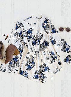 Scoop Neck Floral Playsuit BLUE