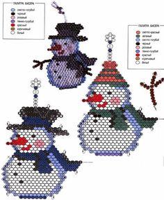 Snowman and Santa Claus Bead