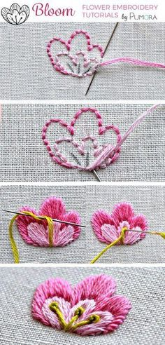 Ribbon Embroidery Patterns satin stitch flower with pistil stitch embroidery tutorial - Pumora by BABSINPDX Embroidery Stitches Tutorial, Crewel Embroidery Kits, Learn Embroidery, Silk Ribbon Embroidery, Hand Embroidery Designs, Embroidery Techniques, Embroidery Thread, Cross Stitch Embroidery, Machine Embroidery