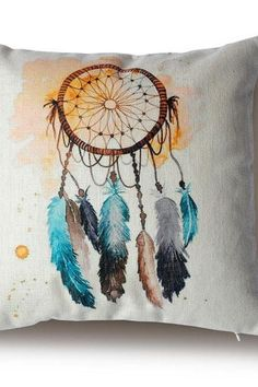 Decorative High Quality Cotton / Linen Blend Cushion Dream Catcher and Feathers Double Sided