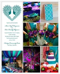Pairing hues of deep purple and teal is perfect for a peacock wedding theme.