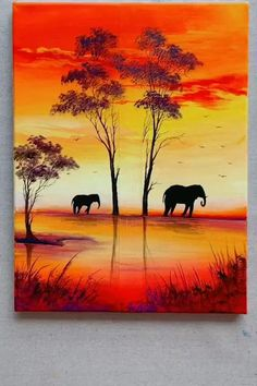 Scenery Paintings, Simple Canvas Paintings, Diy Canvas Art, Landscape Paintings, Acrylic Canvas, Indian Paintings, Sunset Paintings, Easy Nature Paintings, Canvas Painting Tutorials