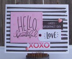 https://flic.kr/p/DSS3se | Hello Beautiful | Made with the February, 2016, Simon Says Stamp Card Kit.  Patterned paper by Crate Paper.  Addition to kit: Enamel hearts by Prima.