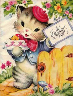 A sweet birthday party invitation - vintage card