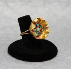 Poppy Ring in Blue Zircon & Turquoise Swarovski by MoonBubbles, $27.00