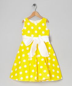 Yellow Polka Dot Bow Dress - Infant, Toddler & Girls | Daily deals for moms, babies and kids - Made in the USA