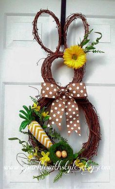 Items similar to Bunny Wreath - Easter Wreath - Easter Decoration - Easter Bunny Wreath - Spring Wreath - Summer Wreath - Easter Door Decoration on Etsy Easter Wreaths, Holiday Wreaths, Holiday Crafts, Diy Christmas, Easter Projects, Easter Crafts, Easter Decor, Diy Projects, Hoppy Easter