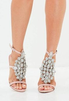 538b776dc84f2 Missguided Pink Ankle Height Embellished Sandals Diamante Sandals