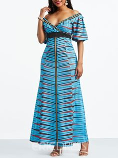 Ericdress Slash Neck Geometric Half Sleeve Maxi Dress at Diyanu - Ericdress Slash Neck Geometric Half Sleeve Maxi Dress at Diyanu Source by aggiewewer - Preppy Dresses, Women's Fashion Dresses, Cheap Dresses Online, White Dresses For Women, Frack, Straight Dress, African Dress, African Attire, Maxi Dress With Sleeves