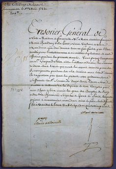 "This letter, signed by Marie Antoinette at Versailles in1783 begins with a request for payment for the billeting of officers. The 2nd part of the document is of note because it orders payment to ""our tailor ordinaire."" This was an important time in the history of the queen's prestige, since her extravagant expenses on her wardrobe created a great scandal in France. Her expenditures on gowns, many by the famed designer Rose Bertin, led to her being vilified by the lower classes throughout…"