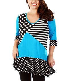 Look at this #zulilyfind! Black & Turquoise Polka Dot Tunic - Plus by Aster #zulilyfinds