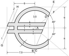Euro Construction - Euro sign - Wikipedia, the free encyclopedia Isometric Drawing Exercises, Euro Sign, Icon Design, Logo Design, Branding Design, Currency Symbol, Interesting Drawings, Cad Drawing, Technical Drawing