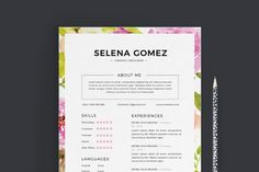 Elegant floral CV and Cover Letter template By Emaholic Templates