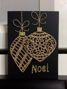 handmade Christmas card … black card with die cut ornaments of gold glitter paper … tres elegant … Stampin Up! Homemade Christmas Cards, Stampin Up Christmas, Christmas Cards To Make, Gold Christmas, Homemade Cards, Holiday Cards, Christmas Ornaments, Christmas Island, Glitter Ornaments