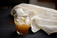 The Stone Fence: Boil 2 cups apple cider until it's reduced to 1 cup.  Let cool.  Combine with 1/2 cup rye or bourbon, 1/3 cup lemon juice, and 4 tsp maple syrup.  Divide among 4 glasses, add ice, top with a splash of seltzer, garnish with ginger slices.
